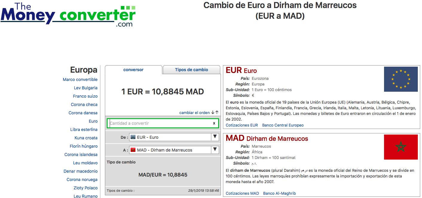 Cambio Dirham Euro